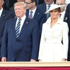 Melania Trump looks gorgeous today wearing a belted demure wool coat by The Row Resort with a matching Philip Treacy hat at the D-Day anniversary commemoration. Melania Trump Wedding, First Lady Melania Trump, Halloumi Burger, Wedding Dress Cost, Wedding Dresses, Dior Gown, Donald And Melania, Philip Treacy, Great Women