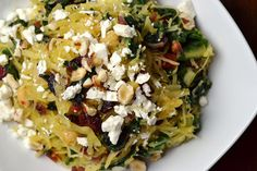 Cara's Cravings » Spaghetti Squash with Chard, Chickpeas and Cranberries