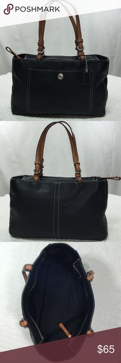Coach Leather Satchel Very excellent condition. No visible signs of wear on this bag. Beautiful black Royal leather with white stiching, silver buckles, and brown straps. #MO751-F10892 Coach Bags Satchels