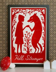 Loup et le petit chaperon rouge illustration little red riding hood and the wolf attenti al lupo e cappuccetto rosso Rotkäppchen I want to paint this on wood and hang in my house. Would also look dope painted on the sides of a bookshelf. Art Et Illustration, Illustrations, Silkscreen, Charles Perrault, Red Ridding Hood, Big Bad Wolf, Little Red, Graphic, Paper Art