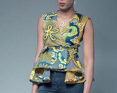 Estilo de chaqueta princesa Top con estampado africano Ankara