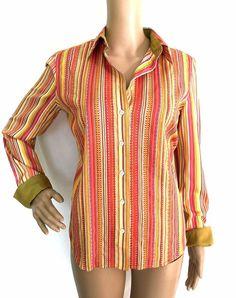 Robert Graham Striped and Embroidered Button Down Shirt - Size S  - EUC #RobertGraham #ButtonDownShirt