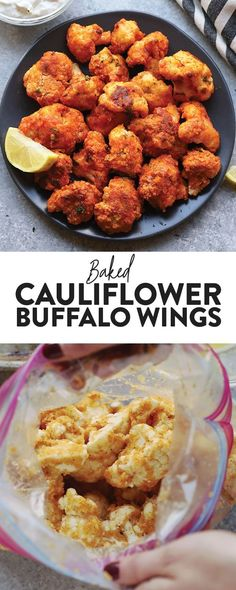 Got a head of cauliflower? Make these amazing healthy buffalo wings with just a few simple ingredients for the big game. These healthy cauliflower buffalo wings are especially delicious dipped in a homemade healthy blue cheese dip. Vegetarian Recipes, Cooking Recipes, Healthy Recipes, Vegetarian Wings, Dip Recipes, Thai Recipes, Keto Recipes, Clean Eating Snacks, Healthy Snacks