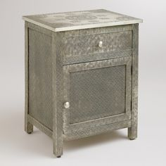 Cost Plus World Market Kiran Embossed Metal Cabinet ($230) ❤ liked on Polyvore featuring home, furniture, storage & shelves, silver, embossed metal furniture, cost plus world market furniture and cost plus world market