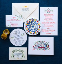 Vibrant Blue and Red Watercolor Wedding Invitations by Lovely Paper Things