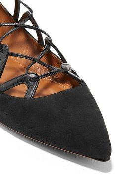 Aquazzura - Maya Leather-trimmed Suede Point-toe Flats - Black - IT39.5