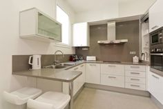Picture of the Kitchen in the apartment in rental in Eixample  42 Rambla Catalunya Residence 32B  I can just imagine the amazing meals I could cook with a kitchen like this... it´s even filled with appliances too!  #barcelona #apartment #rental