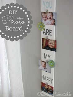 Easy DIY Photo Display Board.  Can be easily customized for any holiday or special occasion - perfect for Mother's Day! // cleanandscentsible.com
