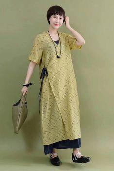 Green Casual Silk Linen Long Wind Coat Q2099