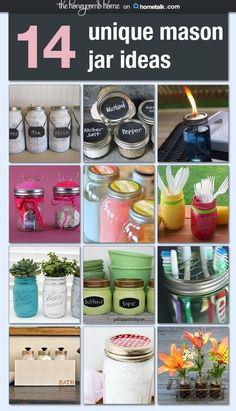 14 unique mason jar ideas Idea Box by TheHoneycombHome - doe het zelf - Mason Jar Art, Pot Mason Diy, Mason Jar Gifts, Painted Mason Jars, Crafts With Mason Jars, Uses For Mason Jars, Mason Jar Storage, Jar Crafts, Bottle Crafts