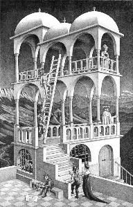 """""""Belvedere"""" - art by M. C. Escher (1958);  Wikipedia's description:  """"It shows a plausible-looking building that is actually an impossible object.""""   ... 'Belvedere' is """"an architectural term for a structure in the form of a turret or other vantage point designed to incorporate a view."""""""
