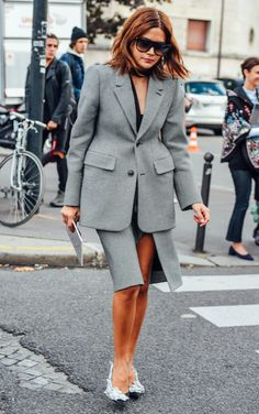 CHRISTINE CENTENERA, PARIS FASHION WEEK, STREET STYLE, SUITING, TOMMY TON, STREET STYLE