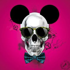 Tableau toile SKULL MOUSE Pink by Lab2Design