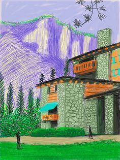 Available for sale from Galerie Lelong & Co., David Hockney, The Yosemite Suite No. 23 IPad drawing printed on paper, 94 × 71 cm David Hockney Artwork, David Hockney Landscapes, David Hockney Ipad, Landscape Drawings, Landscape Paintings, Pop Art, Art Plastique, Illustrations, Colors