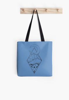 Geometric mountain in a diamonds with moon (tattoo style - black and white) by #Beatrizxe | #redbubble #bag #tote #toteBag Several mountains are enclosed in two overlapping diamonds or rhombs. A crescent moon escapes of the diamonds and it seems a optical illusion #Geometric  #illustration #mountain #diamond #rhomb #moon #optical #illusion #ink #tattoo #line #pointillism #design #sketch #doodle #minimal #minimalism #mountains #night #minimalist