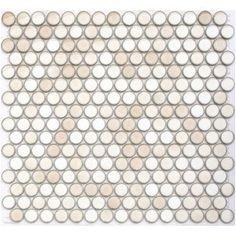 Lounge Cream - Lyric Gloss Glazed Porcelain Penny Tile Round Mosaics by the sheet via www.mosaictilesupplies.com