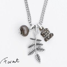 Hultquist Sterling Silver And Hermatite Forest Leaf Pendant Necklace With Black Diamond Crystals | lizzielane.co.uk £37.00