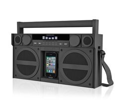 "When I saw this iHome boombox for iPhone/iPod, I couldn't help but start singing ""If I was an oldschool 50 pound boombox"" in my head. Thanks, Gym Class Heroes. Thanks a lot. ($199.99 at ihomeaudio.com)"