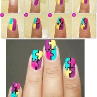 23 Creative Nails Tutorials - Fashion Diva Design, i absolutly love the puzzel idea for your nails!!!!