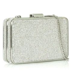MICHAEL Michael Kors ELSIE Crystal Box Clutch Bag in Silver & Pearl Grey $298.00 #MichaelKors #CrossbodyClutch