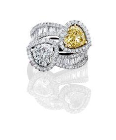 "ANTON ""Hello Yellow"" Collection Diamond Ring. Natural Fancy Yellow Diamond & White Diamonds. #exceptional jewellery. www.antonjewellery.com #diamonds"