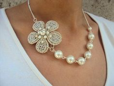 Beautiful Silver-White flower necklace-handmade. $35.00, via Etsy.