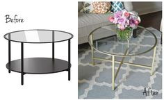 Ikea hack transformed to trendy gold cocktail table