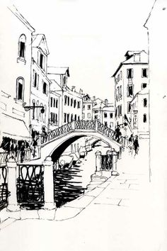 urban sketching black and white Bridge Drawing, City Drawing, Venice Painting, Black And White Drawing, Black White, City Sketch, Architecture Concept Drawings, Travel Sketchbook, City Vector