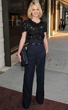 i've loved this look since 2010: high waisted trouser and the perfect navy-black mix.