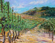 Original California Landscape Vineyard Painting Textured Palette Knife Oil on Canvas Contemporary Modern Art fine art by Karen Tarlton. $225.00, via Etsy.