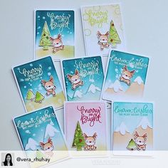 We absolutely love how @vera_rhuhay made these reindeer the main focus and seemingly larger by decreasing the size of the card! #minicards #thanksforsharing