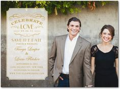 Signature White Photo Save the Date Cards - Celebrating Love by Wedding Paper Divas