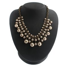 "Robert Rose Simulated Pearl Perfect Drop 17"" Adjustable  +  Black  Diamond #RobertRose #Fashion"