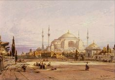 "Hagia Sophia-Ayasofya- Eduard Hildebrandt -1818-1868 via nevin kurtay ""Preserve, reserve, serve; the life and times of istanbul at the heart of historical center."" www.armadaistanbul.com www.armadaistanbulculture.con"