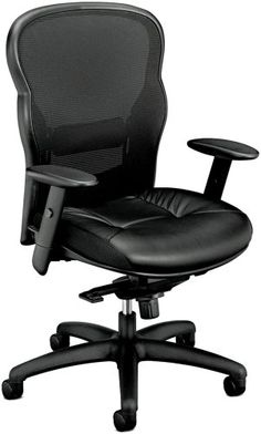 Chair with Adjustable Height Arms for Office or Computer Desk, Black