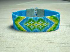 Flower Bead Loom Bracelet Turquoise Loom by BeadWorkBySmileyKit