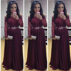 Plus Size Long Sleeve Prom Dresses 2016 Long Elegant Burgundy Prom Gowns Off Shoulder Fast Delivery Robe Longue Femme Soiree