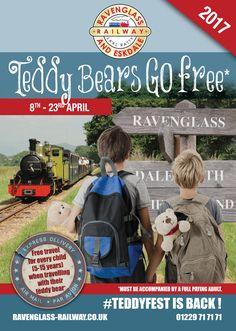 From 8th April 2017 to 23rd April 2017 Teddies go FREE ! Join in the fun this Easter as we grab those teddies because #teddyfest is back! All children travelling with their teddy bear travel free on Ride all Day fares when accompanied by a full fare paying adult. Keep an eye out for our teddy trail clues around the railway too to win great prizes! There is also some colouring activities at Dalegarth station and enjoy the free National Trust Exhibition, open all year.