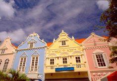 pastel Dutch houses of Oranjestad