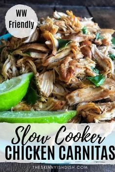 Slow Cooker Chicken Carnitas is a fresh and delicious take on the classic carnitas made with pork. Slow-cooked in lime and orange juice, adobo sauce with chipotle peppers, onions, and spices. Then broiled to aid in drop-dead delicious and slightly crispy bits. These Chicken Carnitas will become your new obsession! Throw this chicken into a taco, burrito, burrito bowl, or salad and dig in. #slowcooker #chickencarnitas Ww Recipes, Mexican Food Recipes, Crockpot Recipes, Chicken Recipes, Cooking Recipes, Healthy Recipes, Ethnic Recipes, Crockpot Dishes, Healthy Sweets