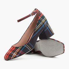 96970660407 Ankle-Strap Block Heel Pump In Stewart Black Tartan