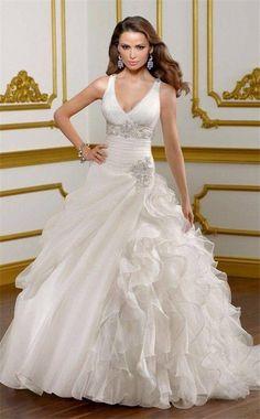 Glamorous ruffled wedding dress
