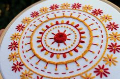 Floral Mandala- Hand Embroidery Patterns- Mandala Embroidery pdf- Floral Embroidery Pattern- Digital Down Hand Embroidery Patterns Flowers, Hand Embroidery Dress, Hand Embroidery Videos, Embroidery Sampler, Simple Embroidery, Hand Embroidery Stitches, Hand Embroidery Designs, Embroidery For Beginners, Cushion Embroidery