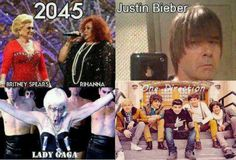 Funny images of the day pics) Justin Bieber, Rihanna,Lady Gaga & Britney Spears In 2045 Britney Spears, Justin Bieber, Lady Gaga, Funny Images, Funny Photos, Hilarious Pictures, I Love One Direction, Just For Laughs, The Funny