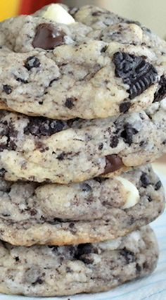 Cookies and cream chocolate chip cookies.- substituted golden Oreos and vanilla chips for the chocolate haters in my family. These are A MAZING!!