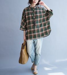 Loose style, linen is never out of fashion and it shows a high end taste. Button Down Shirts – Dark Green Checked Loose Fitting Blouse Shirt – a unique product by SexySugar via en.dawanda.com