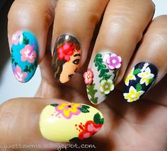 beautylish: Cute Hawaiian-themed nails from Emmie S.! Plage sur les ongles!
