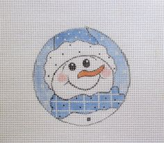 Precious Snowman in Blue Handpainted Needlepoint by MarsyesShoppe