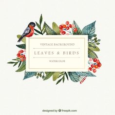 Watercolor leaves and bird background Source: Freepik License: Free for commercial use with attribution File type: Ai Date: Thu, 30 Jul 2015 Categories: Free Vectors Download