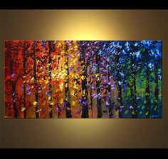 Original abstract art paintings by Osnat - abstract blooming trees landscape